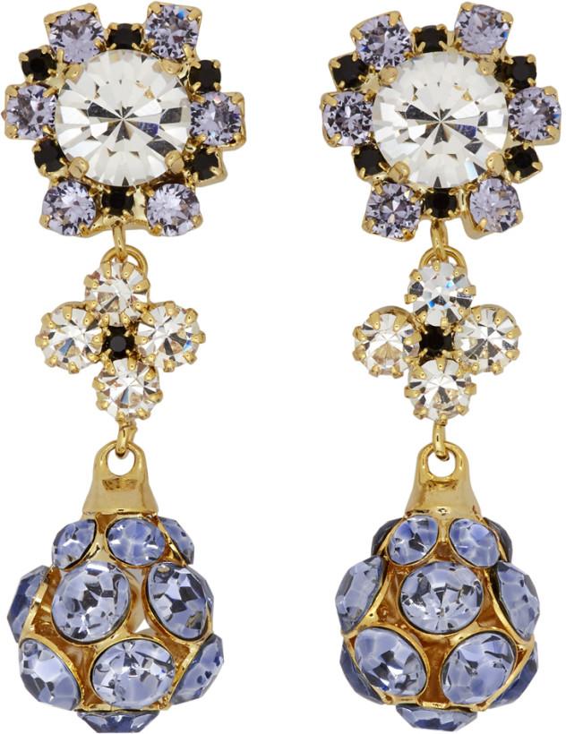 Erdem Purple & Gold Jewelled Drop Earrings