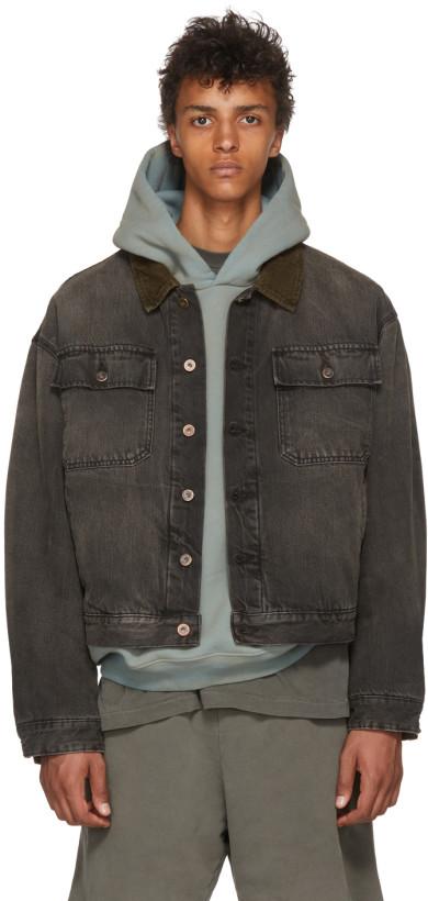 YEEZY Men's Black Denim Jacket