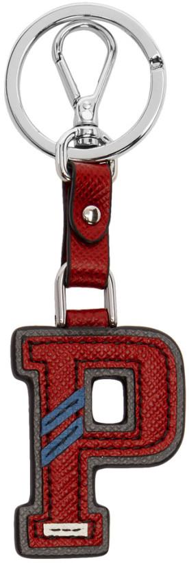 Prada Red Letter 'P' Keychain