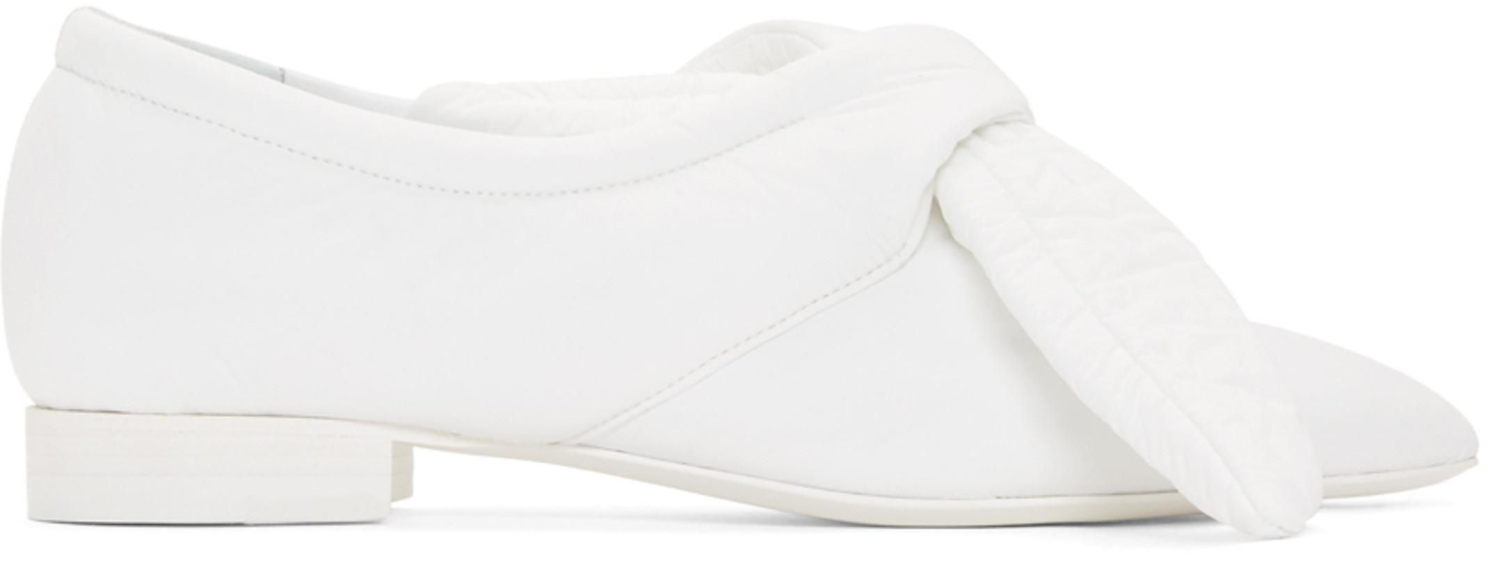 Jil Sander White Knot Pointy Ballerina Flats