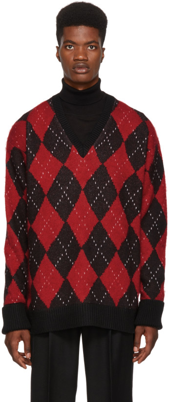 Alexander McQueen Multicolor Oversized Argyle Sweater