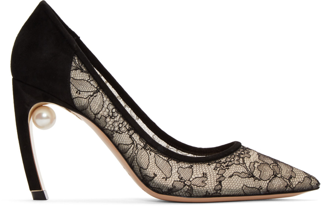 Nicholas Kirkwood Black Lace Mira Pearl Heels