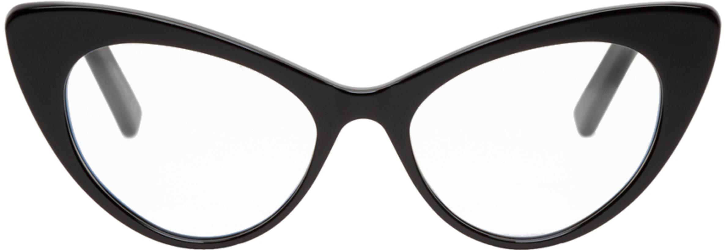 Saint Laurent Black Bold Cat-Eye Glasses