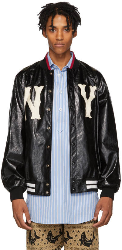 Gucci Black NY Yankees Edition Leather Bomber Jacket