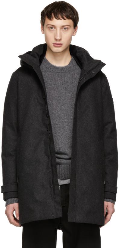 Woolrich John Rich & Bros Grey Down Tech Wool Coat