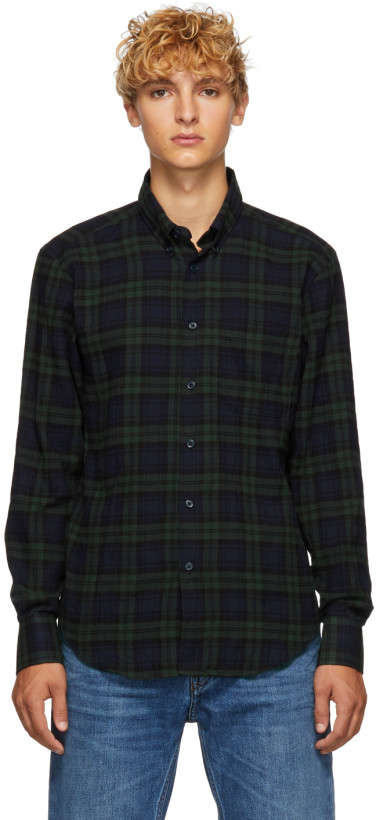 Naked & Famous Denim Green & Navy Check Shirt