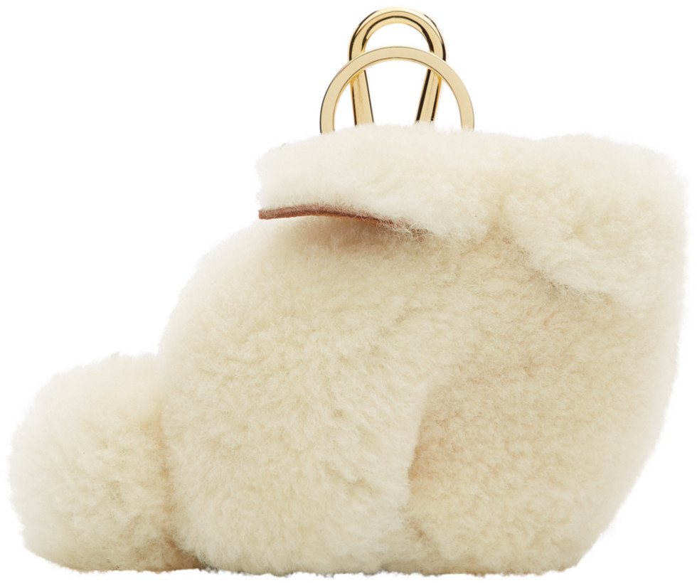 Loewe White Shearling Bunny Charm Keychain
