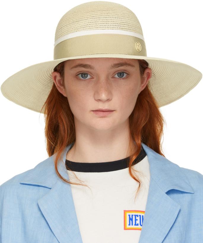 Maison Michel Beige Blanche Beach Hat