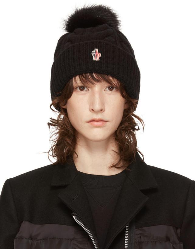 Moncler Grenoble Black Fur Pom Pom Beanie