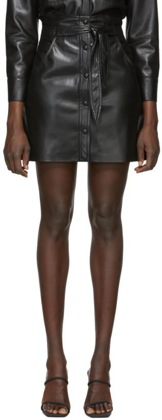 Nanushka Black Vegan Leather Chai Miniskirt