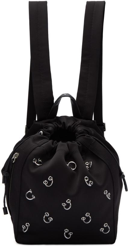 3.1 Phillip Lim Black Satin Mini Go-Go Pierced Backpack