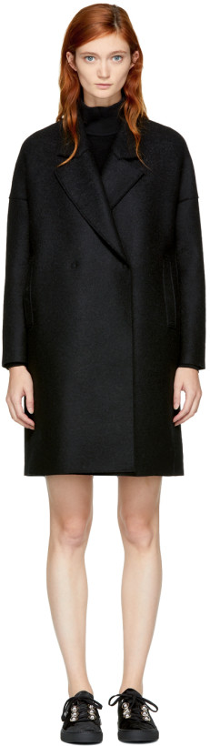 Harris Wharf London Black Wool Wide Lapel Coat