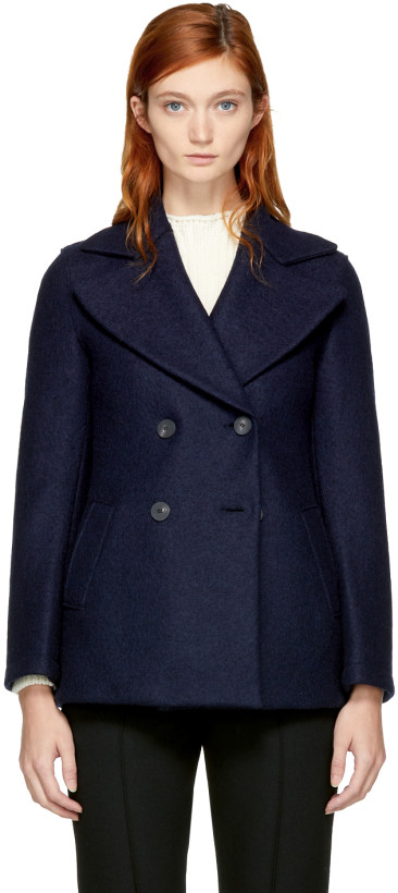 Harris Wharf London Navy Wool Short Peacoat
