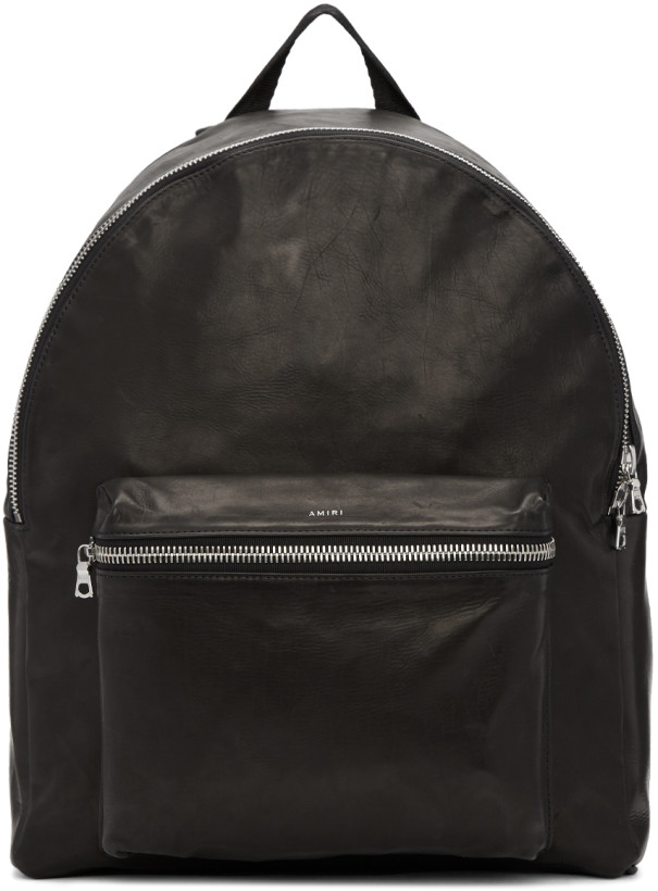 Amiri Black Leather Backpack