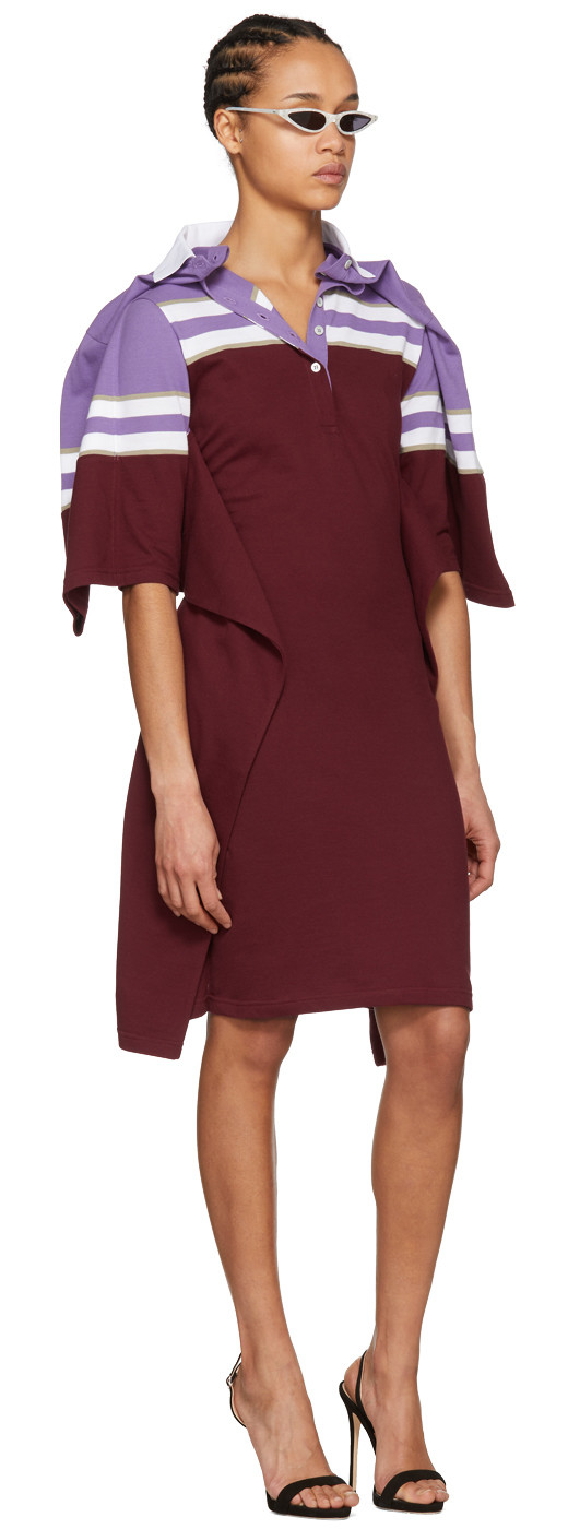 Y/Project - Violet And Burgundy Striped Polo Dress