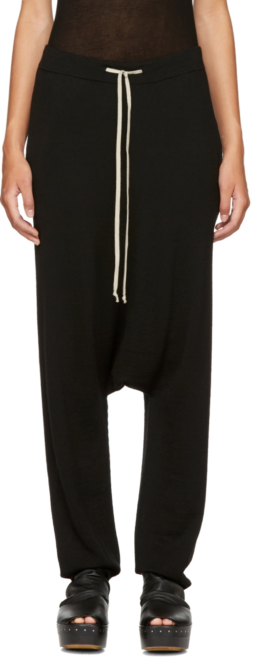Clearance New Arrival Black Wool Drawstring Long Lounge Pants Rick Owens Outlet Original 77oIbFuG