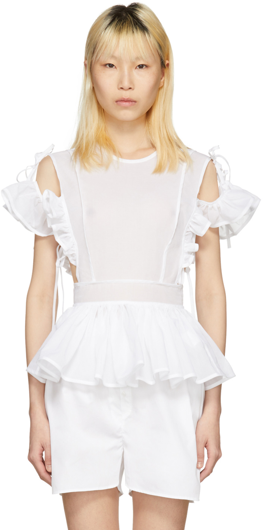 White Cornelia Sailor Bib Blouse Cecilie Bahnsen Visa Payment Cheap Online Cheap Sale Explore Outlet Fashion Style Authentic Cheap Online lTe5s
