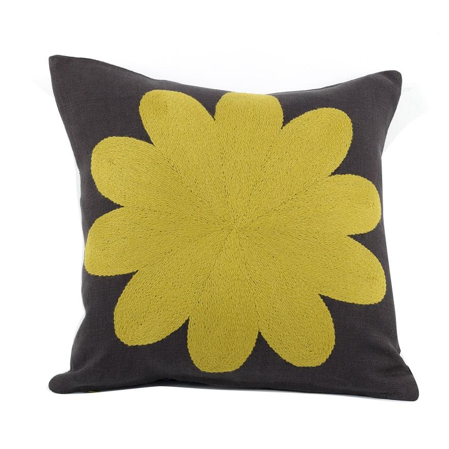 Charlene Mullen Yellow on Grey Linen Geometric Big Flower Cushion