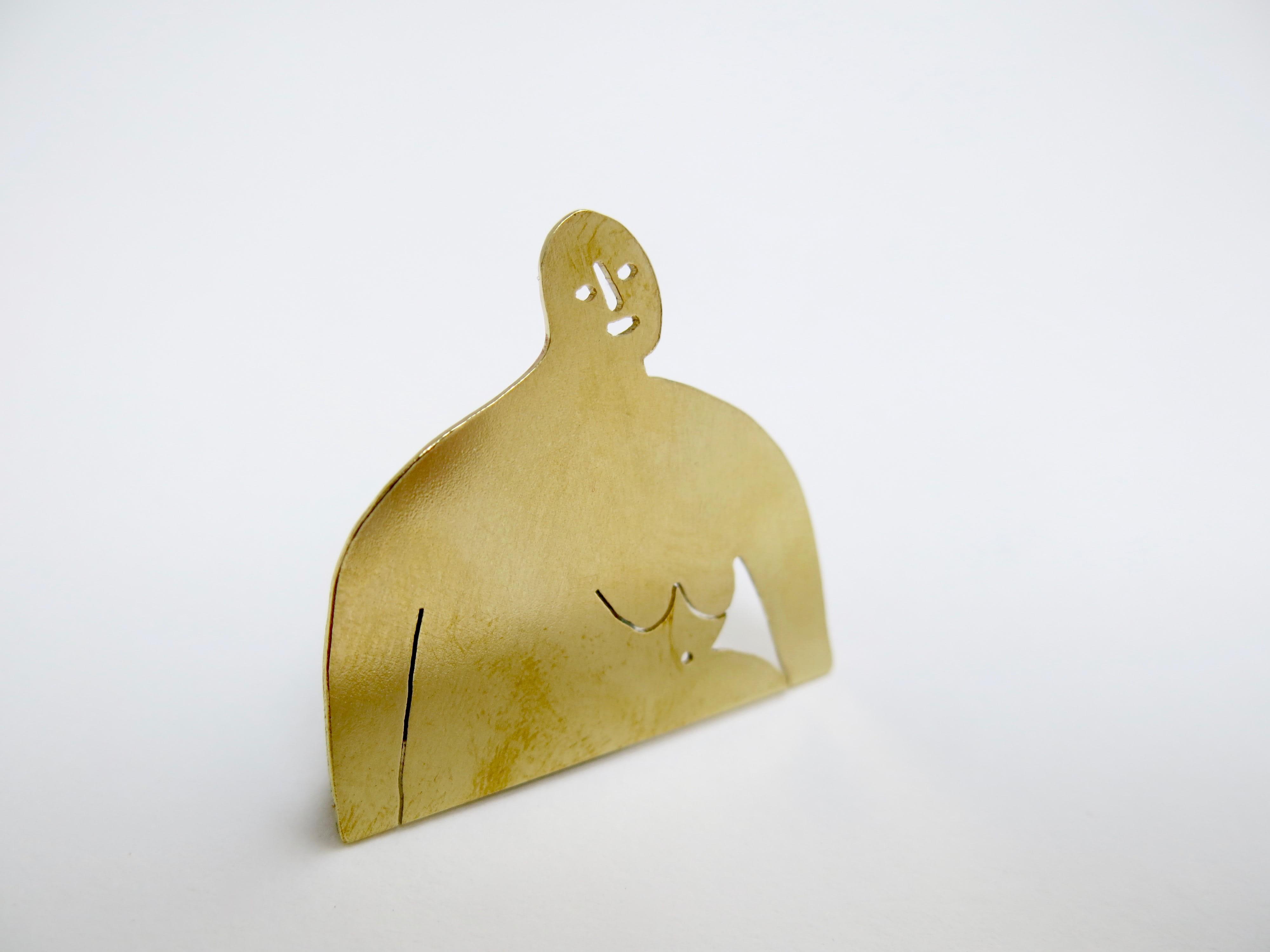 Freya Alder Brass Woman Brooch
