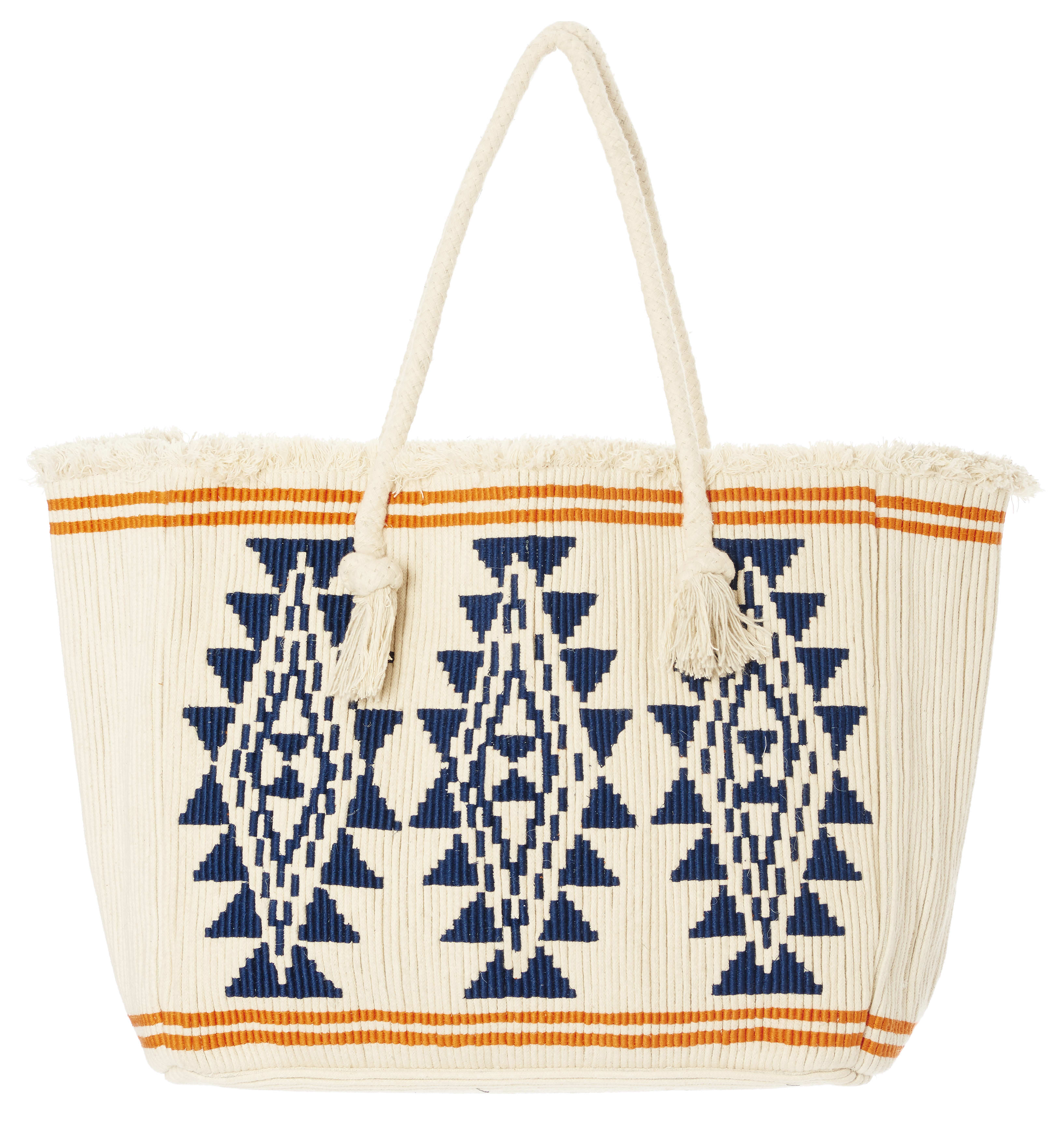 Star Mela Ivory/Navy Io Rope Embroidered Tote Bag