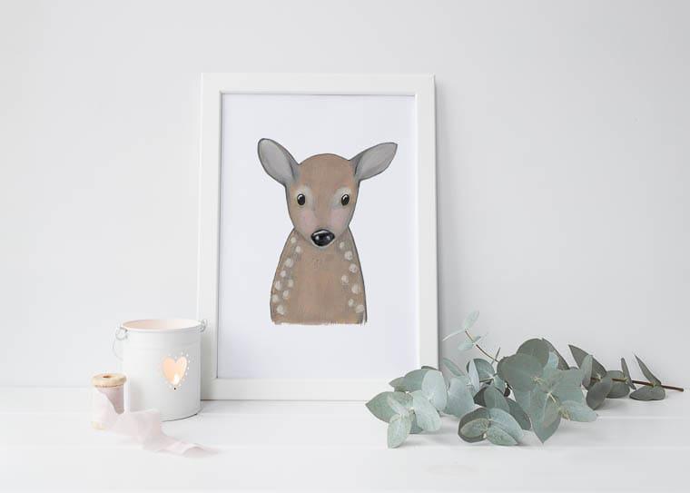 Little Paperie A4 Woodland Deer Print
