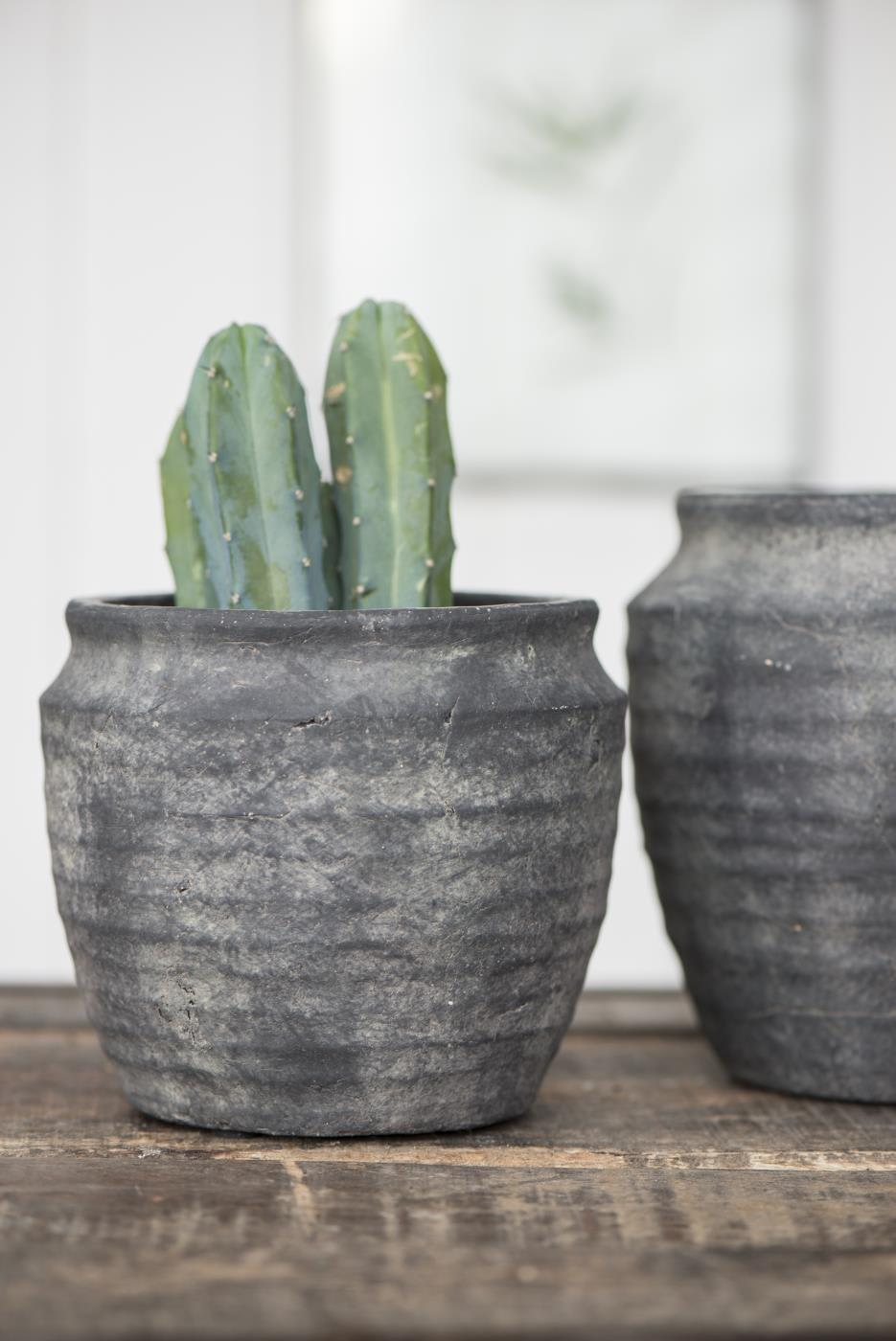 Ib Laursen Dark Grey Small Athens Grooved Pot