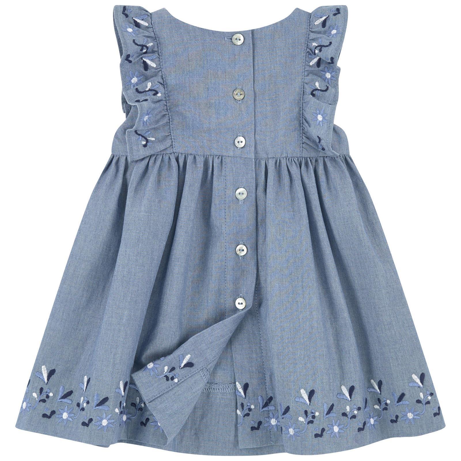 Tartine et Chocolat Blue Chambray Girls Pinafore Dress