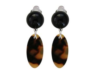 Alexandrine Paris Black Dot Abelia Clip Earrings