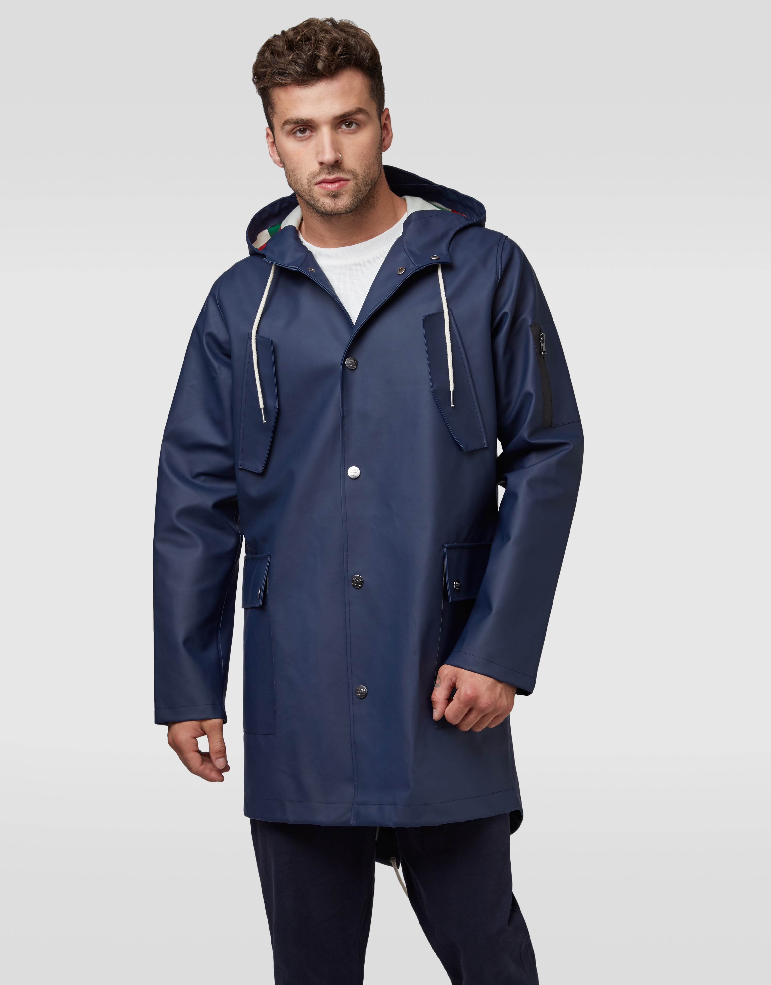Hymn London Navy 'JIMMY' Waterproof Rain Coat