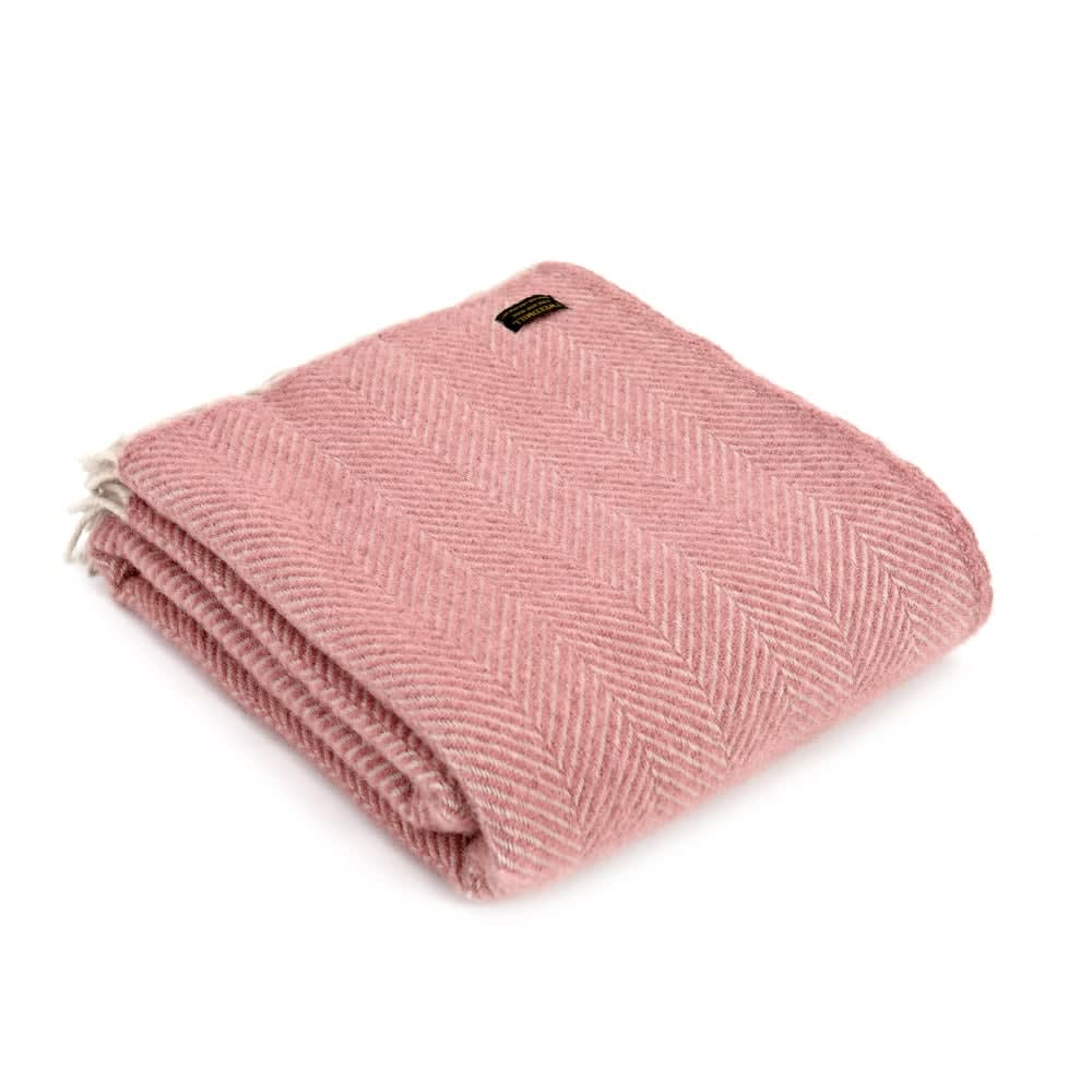 Tweedmill Dusky Pink/Pearl Pure New Wool Herringbone Throw