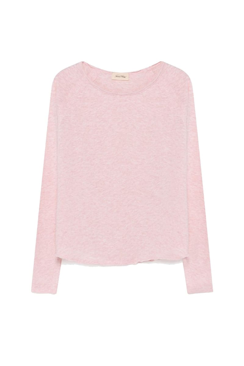 American Vintage Light Pink Melange Sonoma Round Neck Long Sleeve Tee
