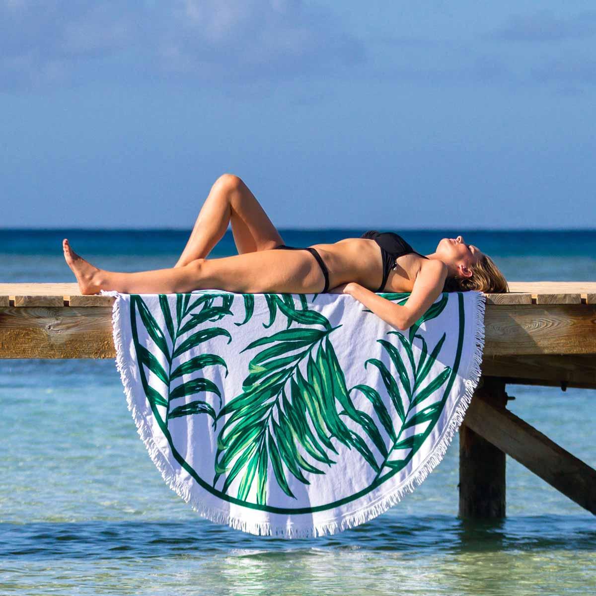 Palm & Peach Mustique Round Tropical Print Beach Towel