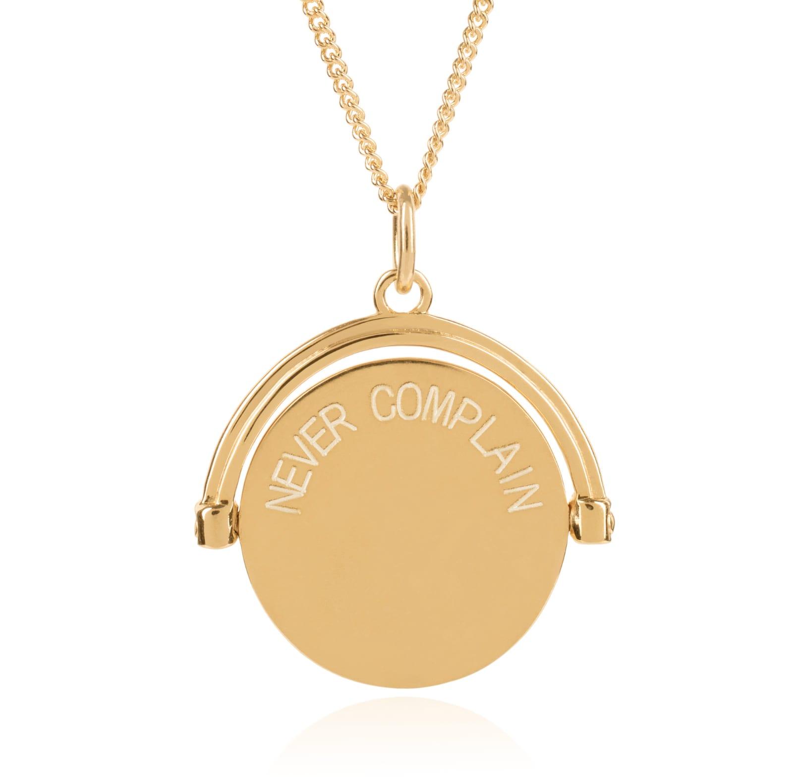 Rachel Jackson Never Complain / Never Explain Gold Spinner Necklace