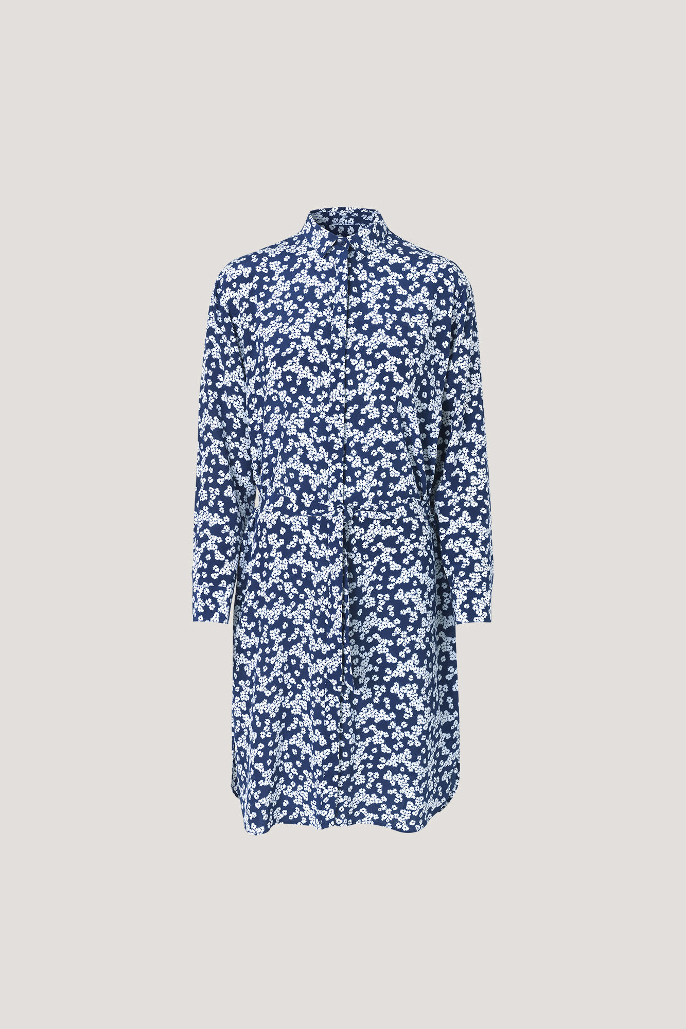 Samsoe & Samsoe Daisy Blue Print Bristo Silk Shirt Dress