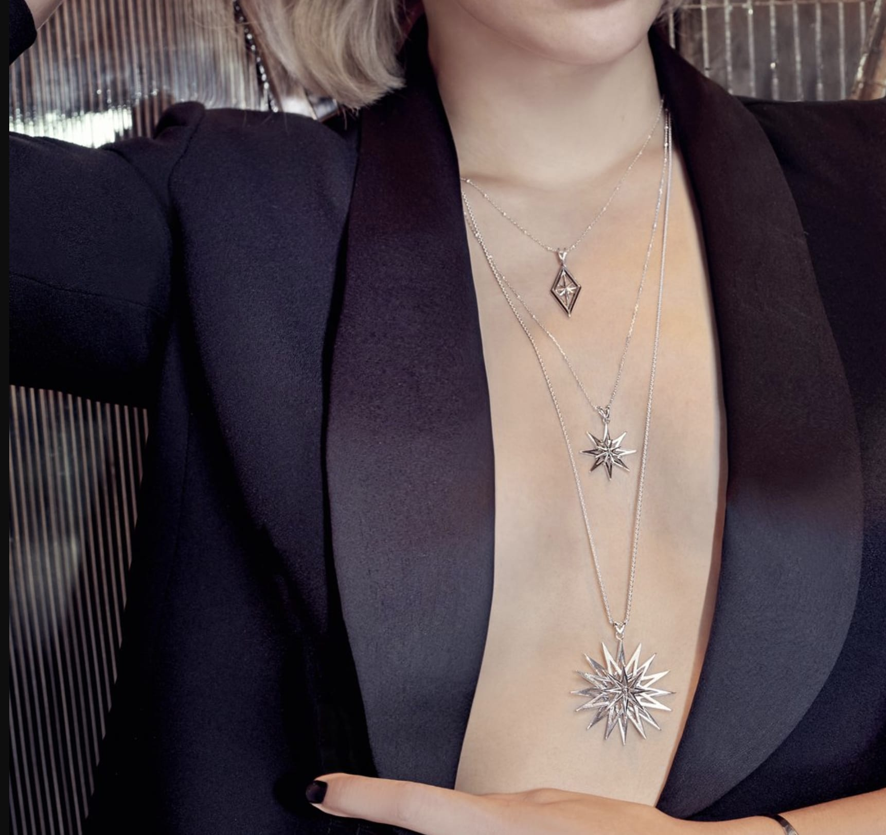 Rachel Jackson Silver Rock Star Statement Necklace