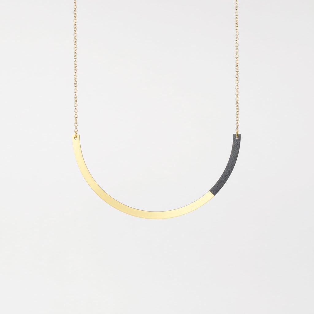 Tom Pigeon  Midnight Blue + Brass Form Circle Necklace