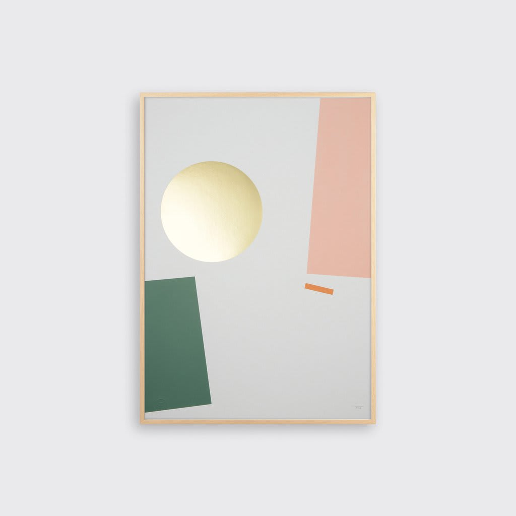 Tom Pigeon  Balance 1 Geometric and Brass Foiled A2 Print