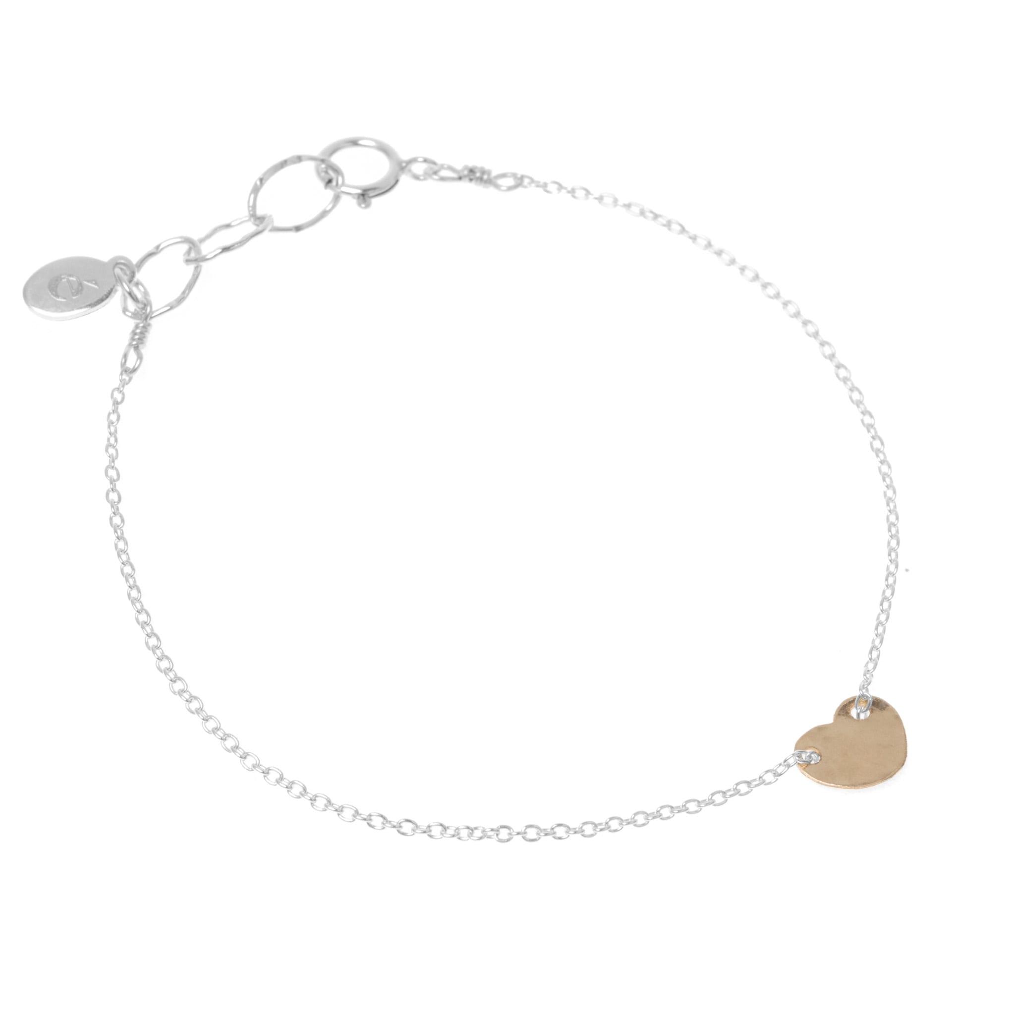 épanoui Mini Heart Bracelet, Silver & Gold