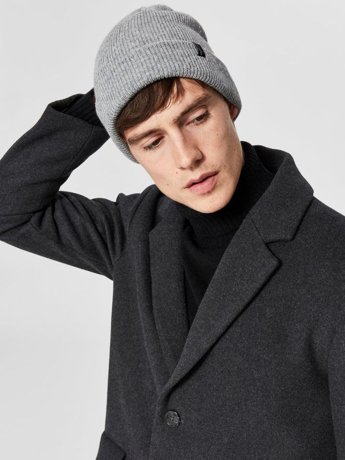 Selected Homme In Light Grey New Wool Beanie