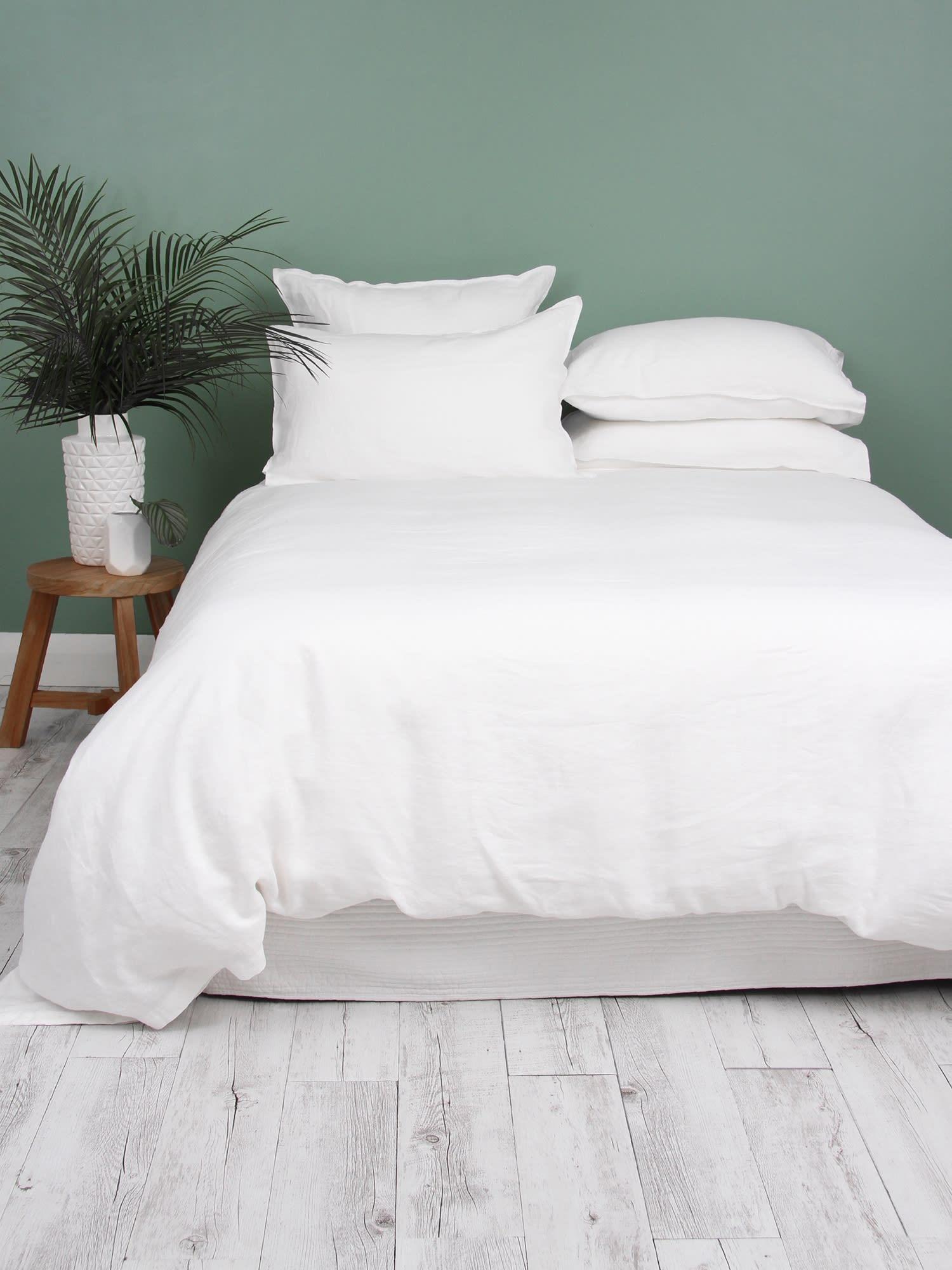 Wallace Cotton King White Loft Linen Duvet Cover Set