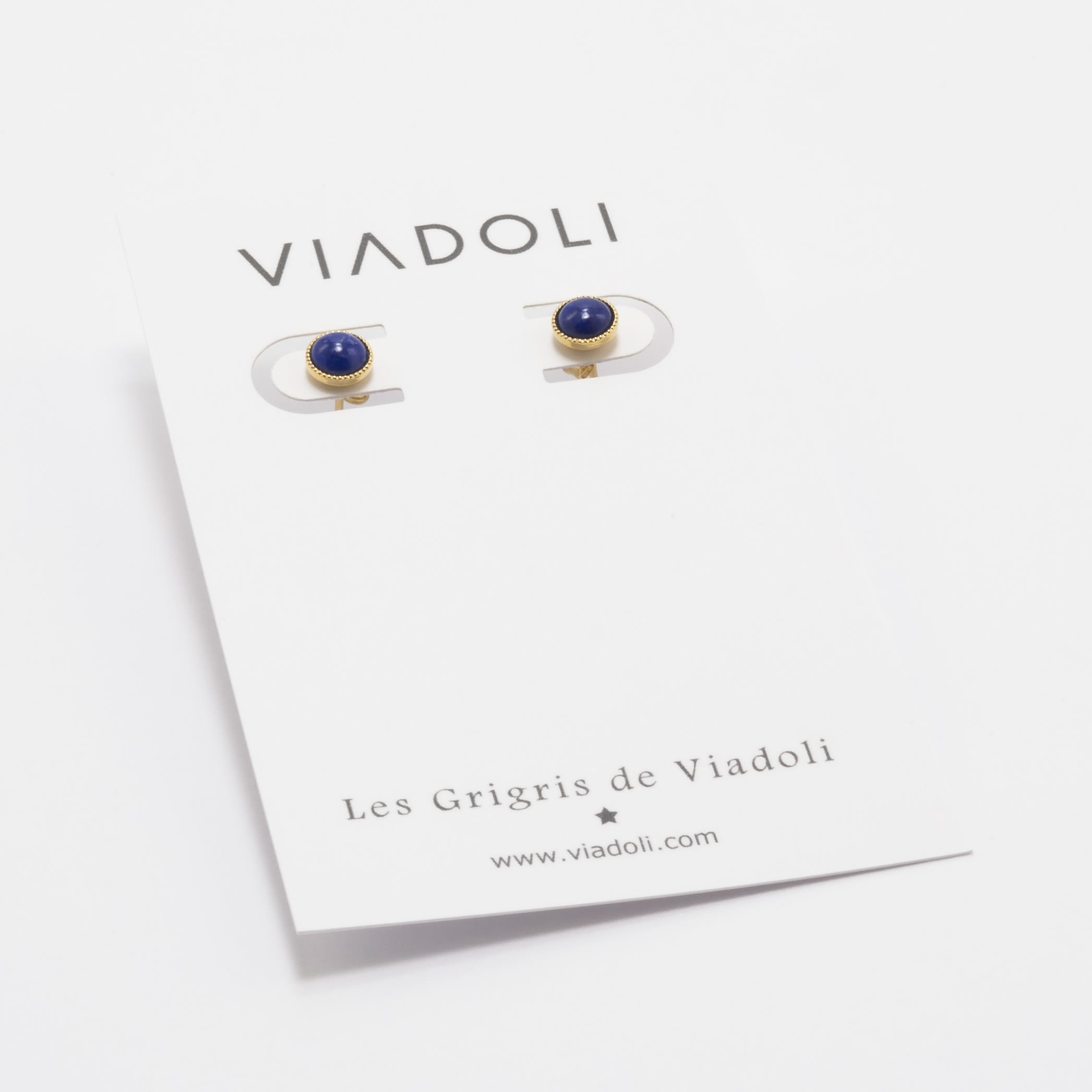 Viadoli Gold-plated Nymphéa stud earrings with Mother-of-Pearl