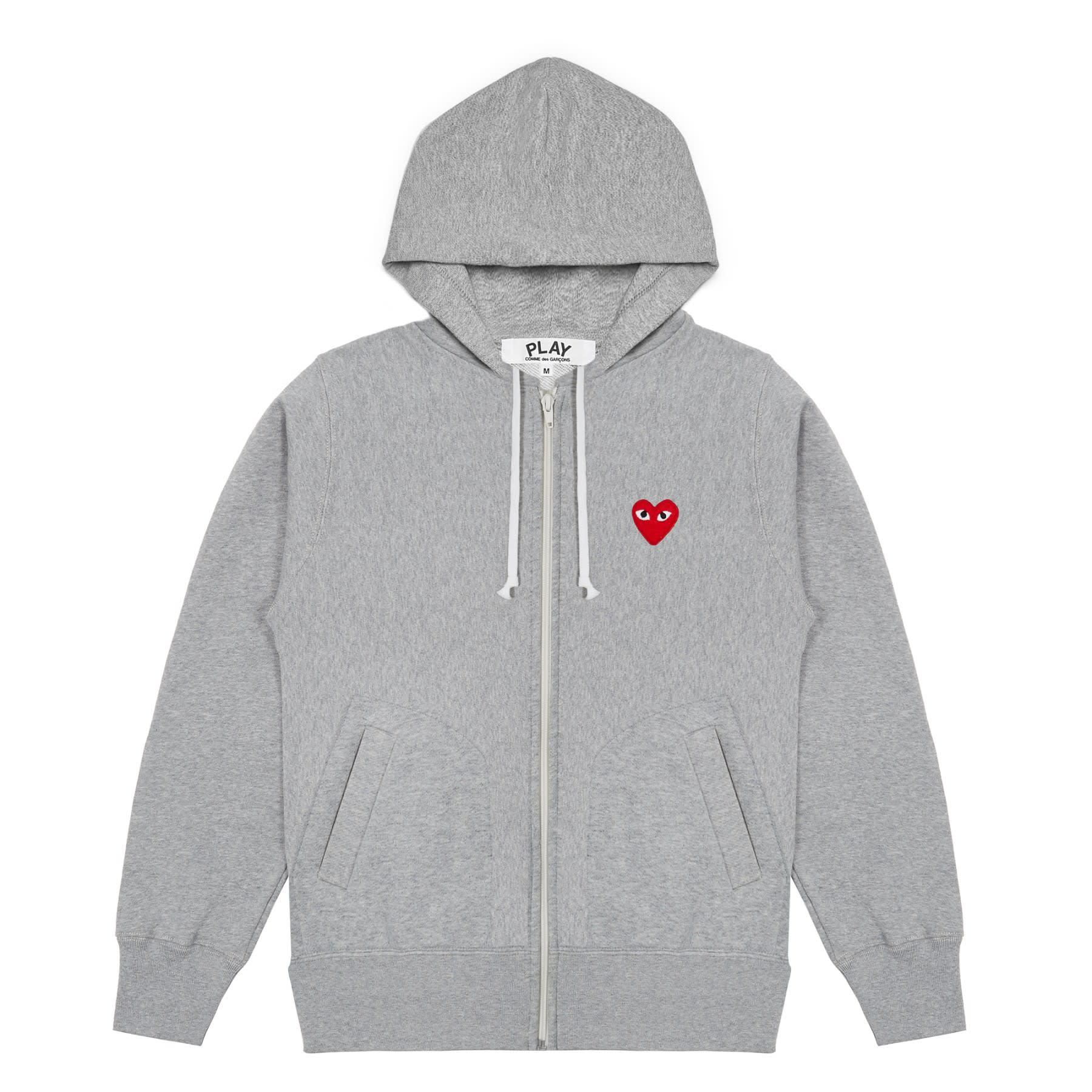 Comme Des Garcons Play Grey PLAY Printed Heart Zip Through Hoodie