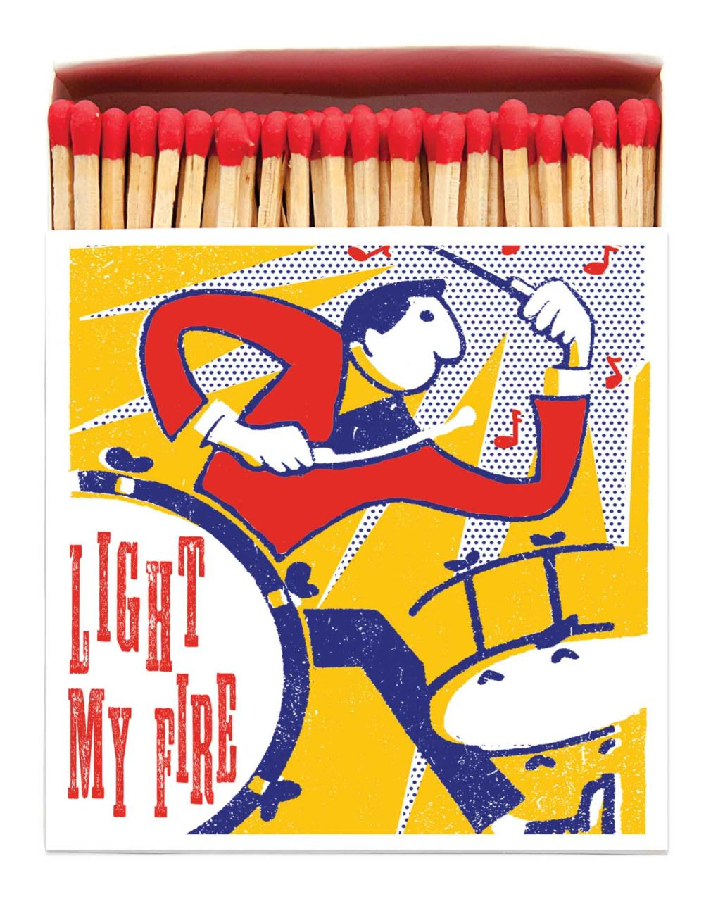 Archivist Long Luxury 'Light My Fire' Drummer Matches in a Square Yellow Box