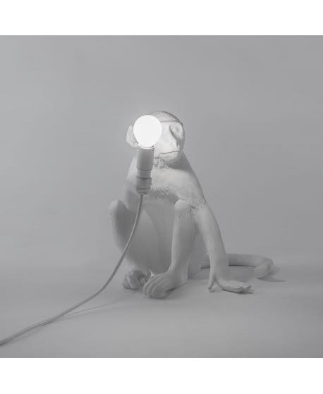 Seletti White Indoor Sitting Monkey Lamp