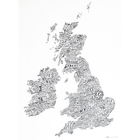 Angus McArthur + Alison Hardcastle Word Map Of The British Isles print