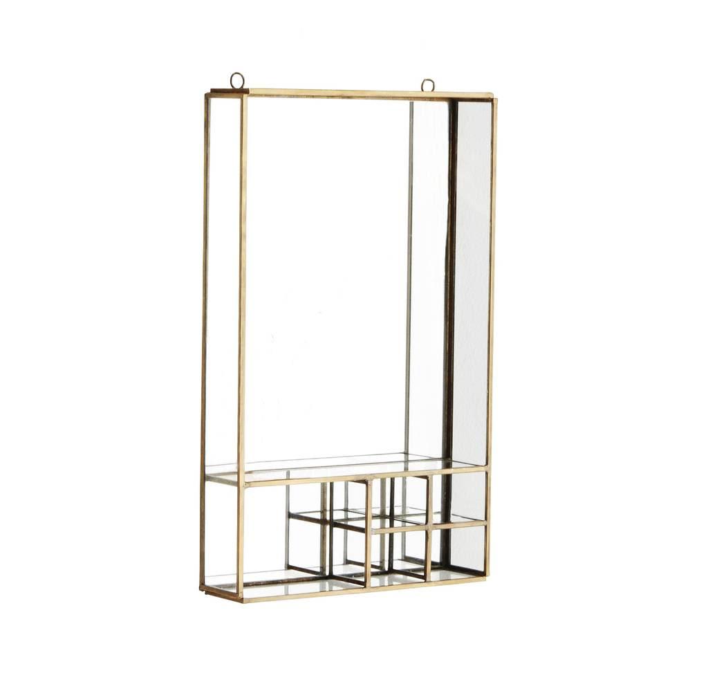 Madam Stoltz Brass Mirror With Shelves