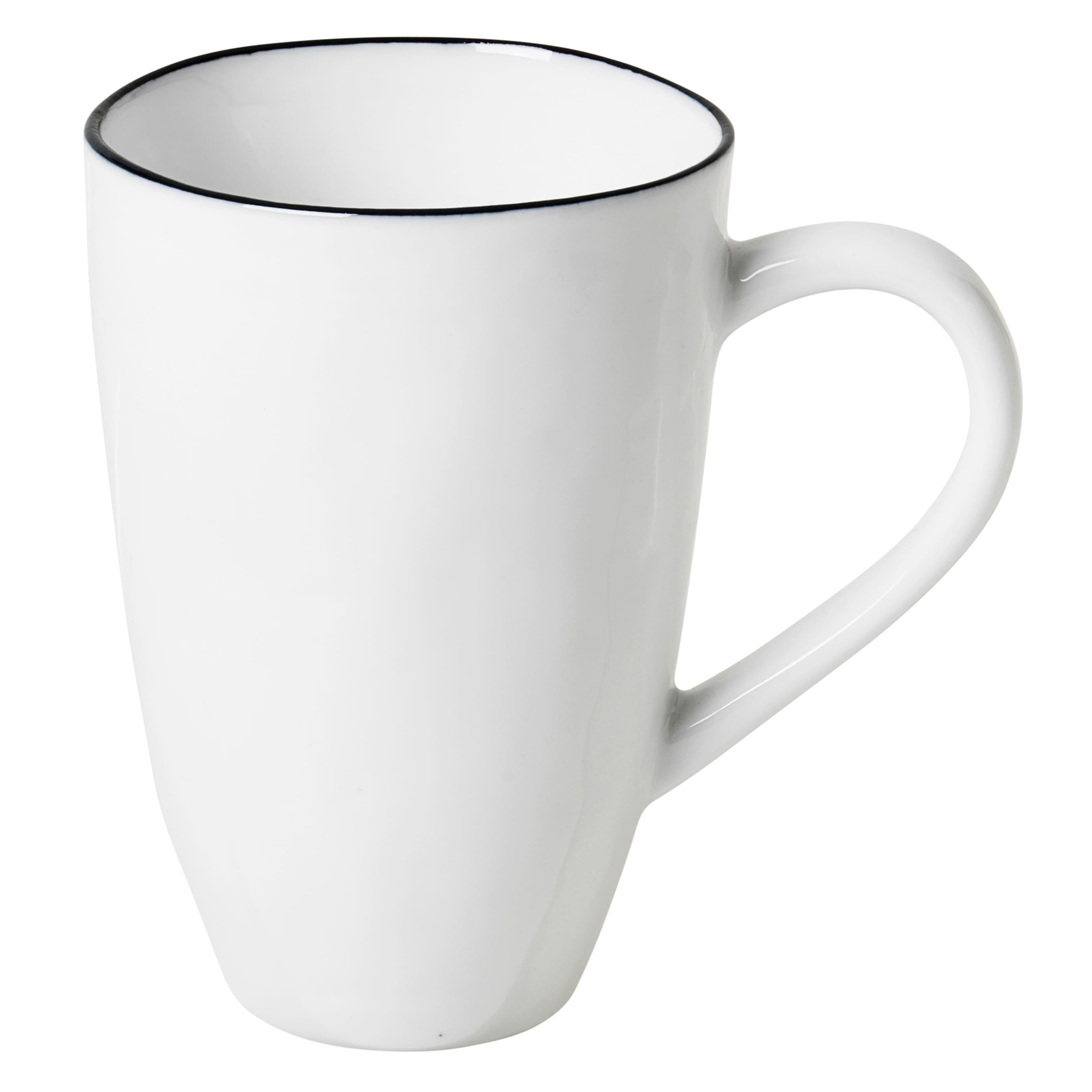 Broste Copenhagen White Salt Hand Finished Porcelain Mug With Black Rim
