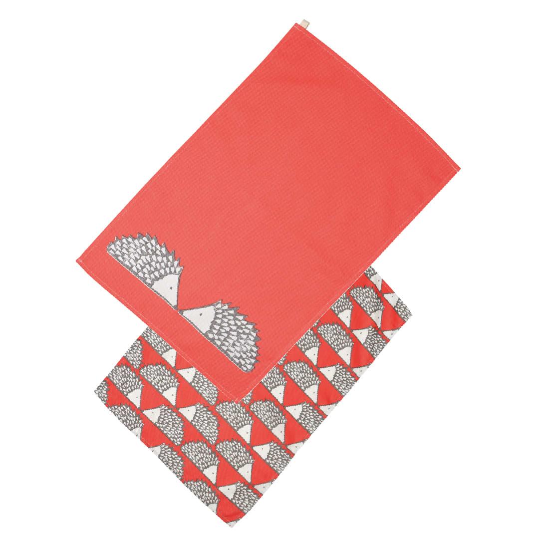 Scion Set Of 2 Red Spike Hedgehog Tea Towels