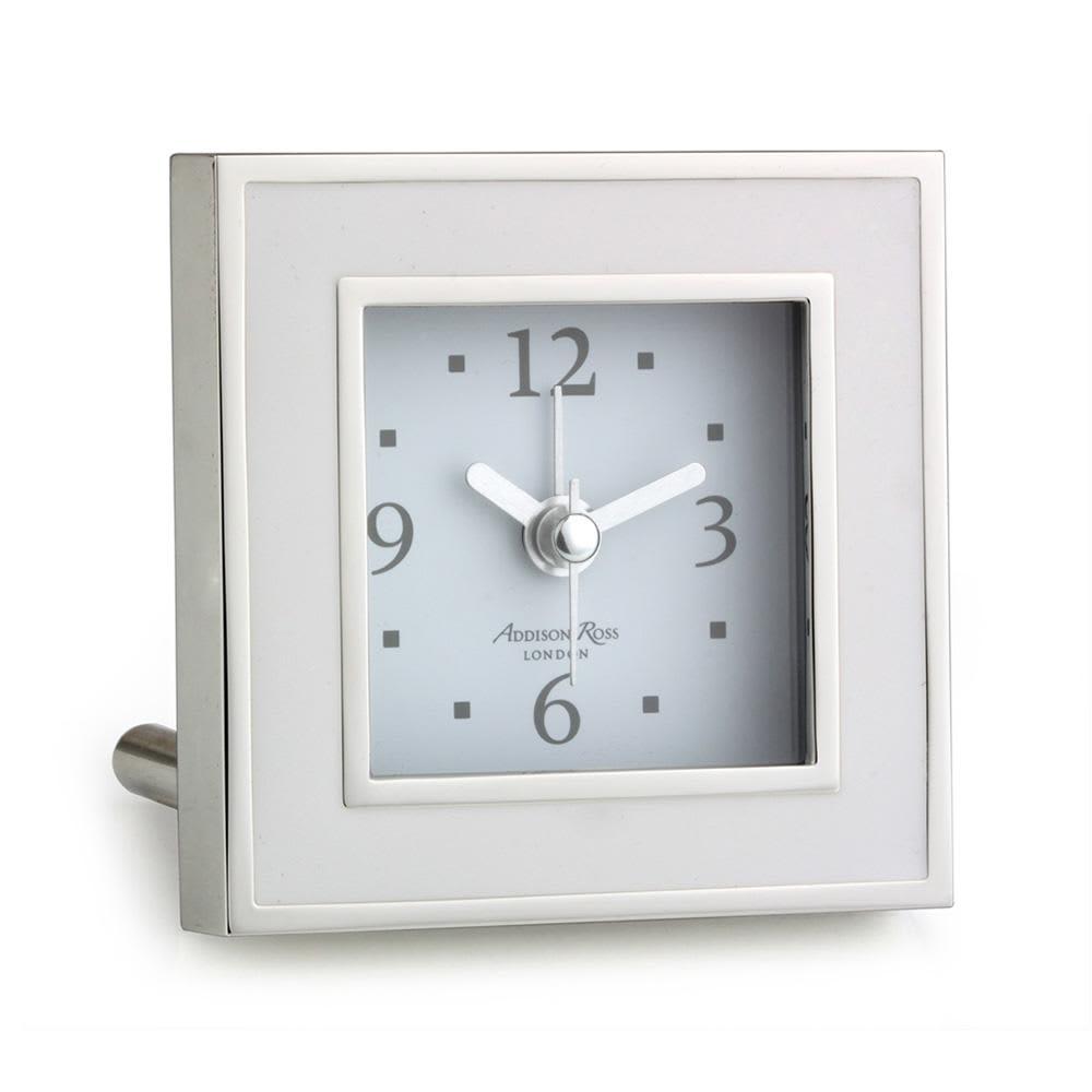 Addison Ross White Enamel And Silver Alarm Clock