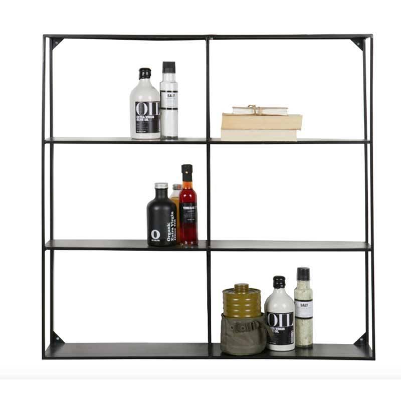 Black 6 Slot Metal Wall Shelf